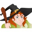 Stock Vector: Cunning old Witch Vector Illustration