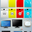 Fridge Washing Machine TV Mobile Laptop Vectors — Vettoriali Stock