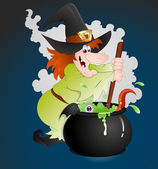 Witch Making Potion — Stock Vector