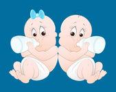 Twins Baby Vectors — Stock Vector