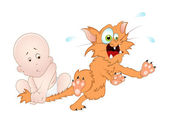 Naughty Baby with Cat - Vector — Stock Vector