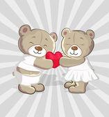 Cute Bears Vector Cartoon — Stock Vector