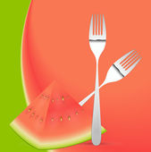 Watermelon with Forks Spoons Vector — Stock Vector