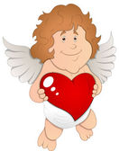 Adorable Cupid with Heart - Vector Illustration — Stock Vector