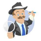Detective - Cartoon Character - Vector Illustration — Stock Vector