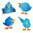 Twitter Bird Cartoon Icon Set - Stok Vektör