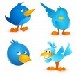 Twitter Bird Cartoon Icons — Stock Vector