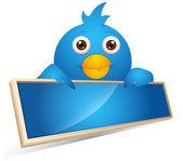 Twitter Bird Business Banner Vector Illustration — Stock Vector
