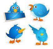 Set di icone di twitter uccello dei cartoni animati — Vettoriale Stock