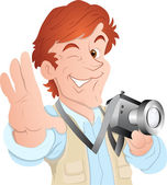 Male Cartoon Photographer — Stock Vector