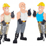 Under Construction Guys - Vector Character Illustration — Stock Vector #15368125