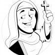Stock Vector: Nun Character Vector Illustration