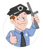 Politieagent stripfiguur — Stockvector