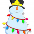 Cute Snowman - Christmas Vector Illustration — Stock Vector