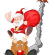 Funny Santa with Reindeer - Christmas Vector Illustration — Stock Vector