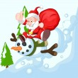 Royalty-Free Stock Vector Image: Cartoon Santa with Snowman