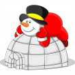 Stock Vector: Snowman with Igloo House - Christmas Vector Illustration
