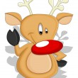 Cartoon Reindeer - Christmas Vector Illustration — Stock Vector