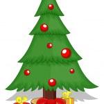 Cartoon Tree - Christmas Vector Illustration — Stock Vector