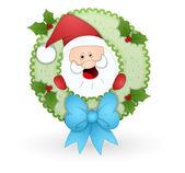 Santa in illustrazione vettoriale ghirlanda — Vettoriale Stock