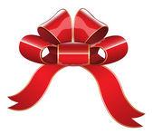 Red Glossy Ribbon Bow Vector Illustration — Stock Vector