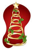 Golden Spiral Tree - Christmas Vector Illustration — Stock Vector