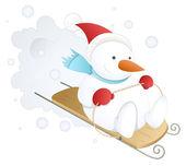 Divertente e simpatico pupazzo di neve - illustrazione vettoriale di natale — Vettoriale Stock