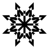 Black Shape Snowflake — Stock Vector