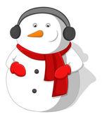 Cartoon Snowman - Christmas Vector Illustration — Stock Vector