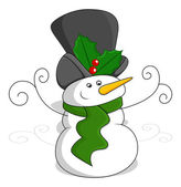 Snowman - Christmas Vector Illustration — Stock Vector