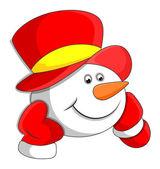 Cabeza de muñeco de nieve de la historieta — Vector de stock