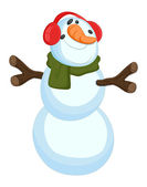 Grappige sneeuwpop - kerst vectorillustratie — Stockvector