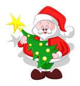 Cartoon Santa with Christmas Tree — Stock Vector