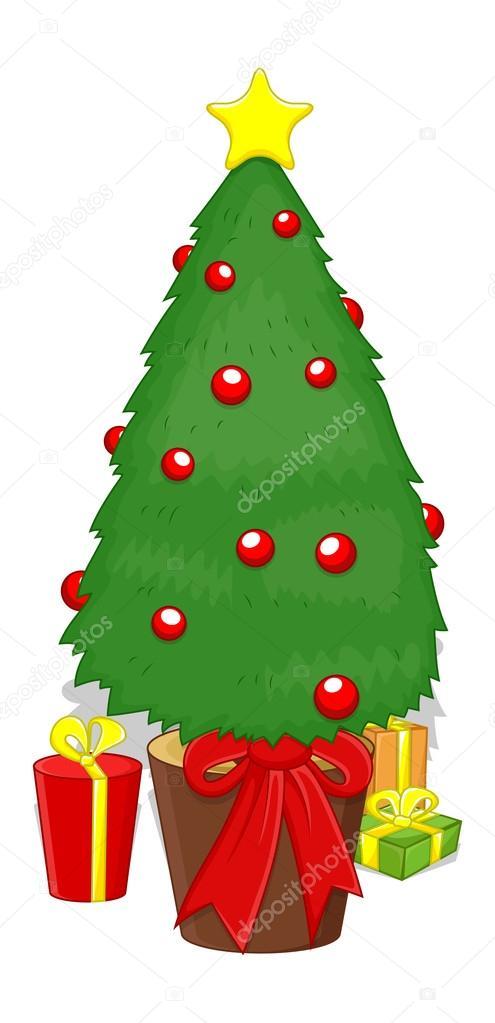 Sapin de no l dessin anim avec des cadeaux image vectorielle baavli 16948585 - Sapin avec cadeaux ...