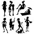Royalty-Free Stock ベクターイメージ: Fashion Women Silhouettes