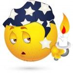 Ilustracja wektorowa buźkę - sennie twarz z świeca — Wektor stockowy