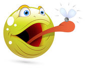 Smiley Vector Illustration - Frog Catching Fly Face — Stock Vector