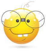 Smiley Vector Illustration - Book Worm Face — Stock Vector