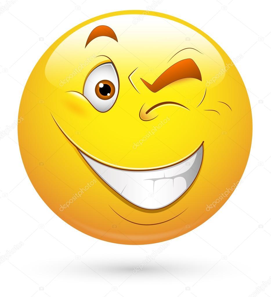 Smiley-Vektor-Illustration - Auge blinkt — Stockvektor © baavli #21688305