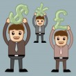 Various Currency Signs - Office and Business People Cartoon Character Vector Illustration Concept - Stockvektor