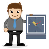 Office and Business Cartoon Character Vector Illustration - Time Concept — Stok Vektör