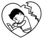 Broken Heart Sad - Office and Business Cartoon Character Vector Illustration Concept — Stock Vector
