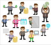 Various Concepts & Poses - Office and Business Cartoon Character Vector Illustration — Stock Vector