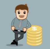 With Coins - Office and Business Cartoon Character Vector Illustration Concept — Stock Vector