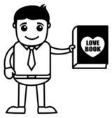 Amor libro - oficina y negocios cartoon carácter vector ilustración concepto — Vector de stock
