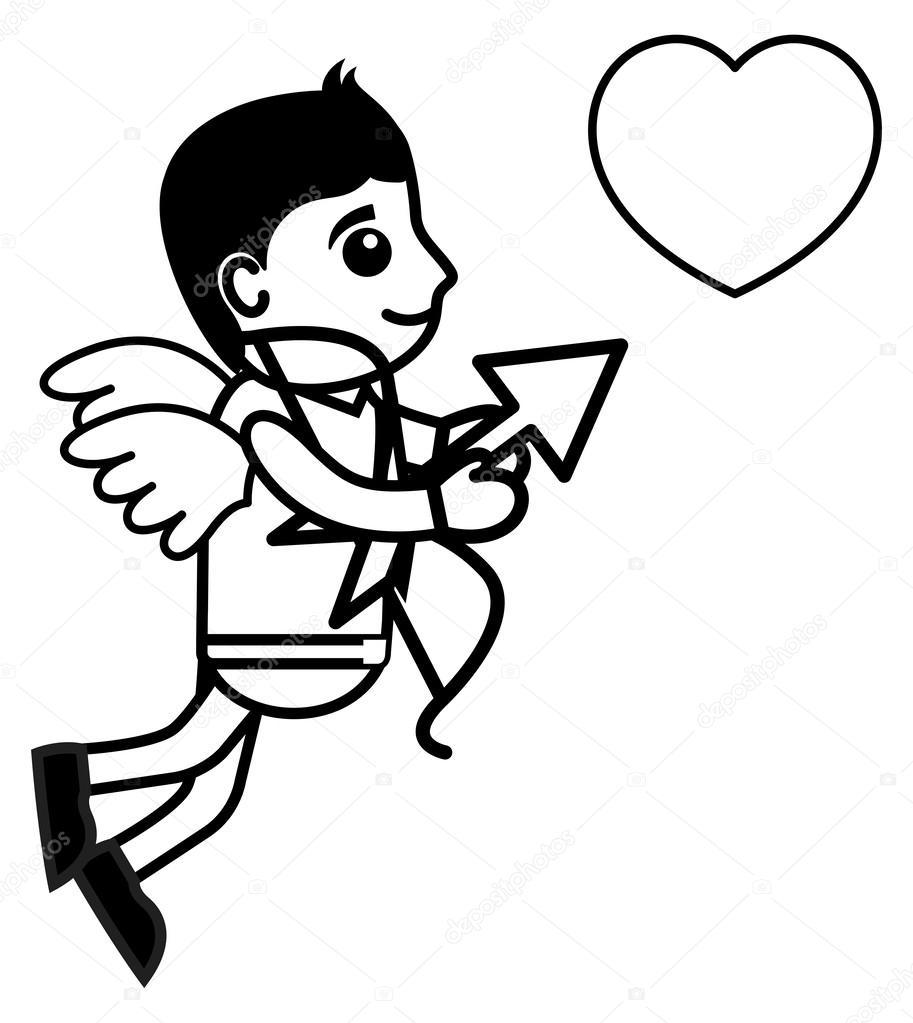 Cupido aziendali e fumetto carattere vettoriale