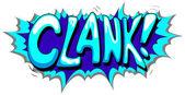 Clank - texto de vector de expresión cómica — Vector de stock