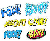 Set of Comic Expression Vector Text — Stock Vector