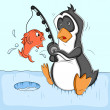 Fishing Cartoon Penguin Vector Illustration — Stock Vector