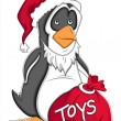 Santa Cartoon Penguin Vector Illustration - Stock Vector